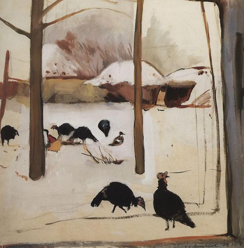 Poultry yard, 1910 by Zinaida Serebriakova (1884-1967